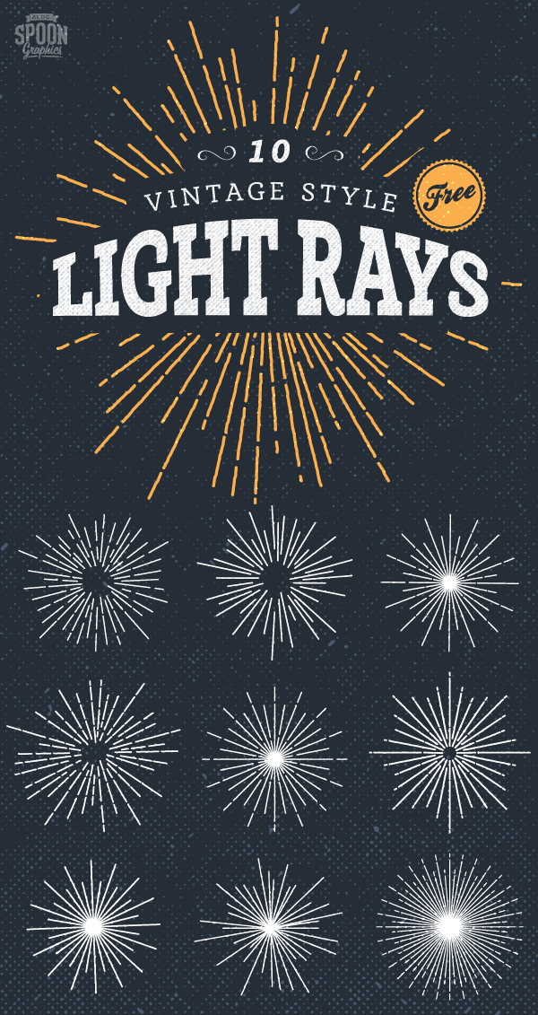 12 Vintage Rays Vector Images