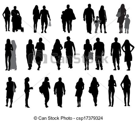 16 Vector People Walking Silhouette Profile Images