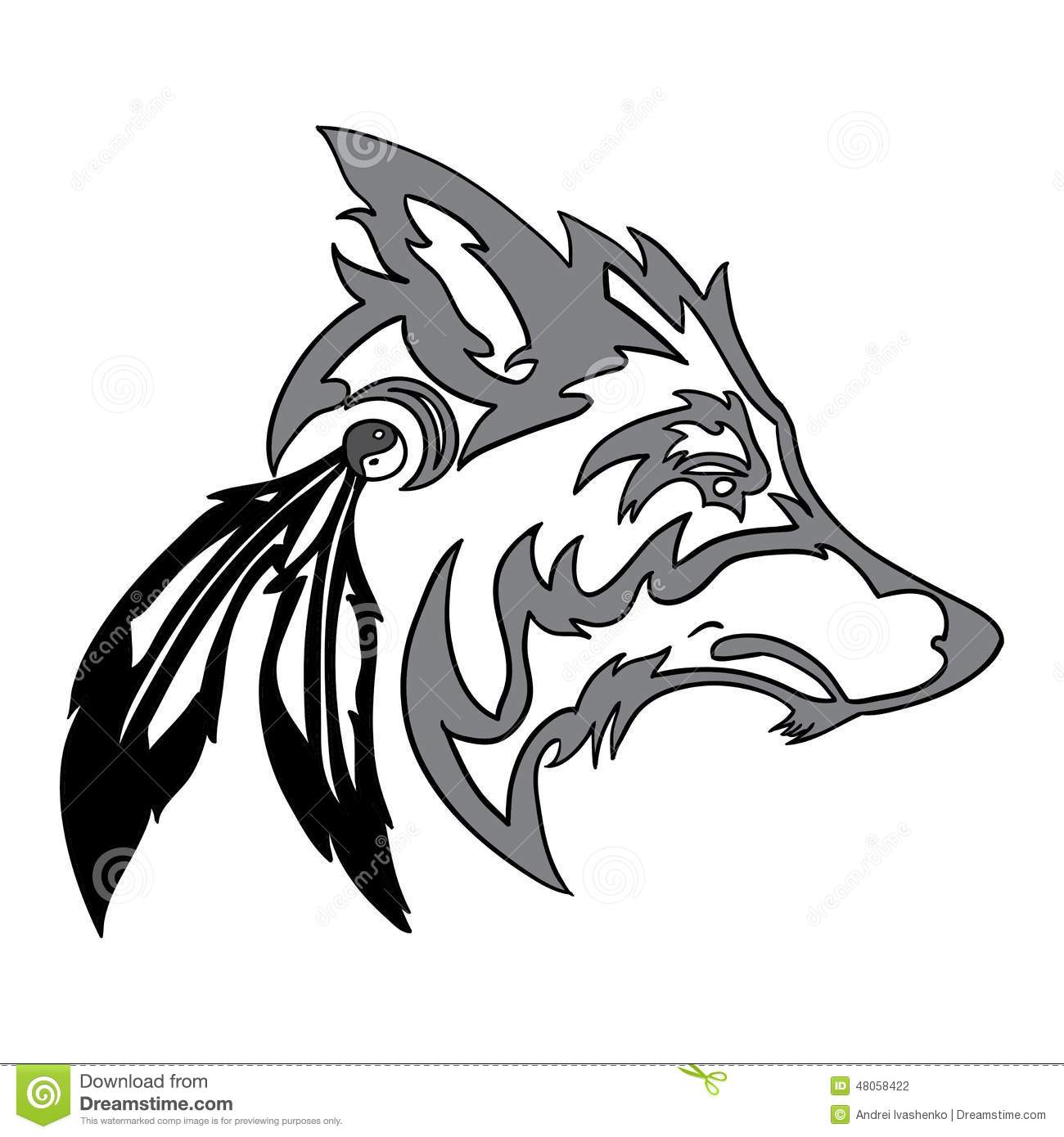 12 wolf head vector images wolf head drawing side view for Tribal wolf tattoo